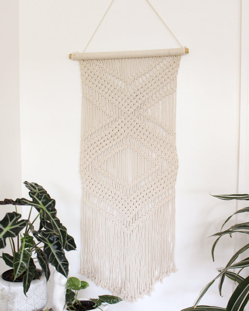 Clarity Cotton Long Macrame Wall Hanging Hippie Wall Tapestry - Pure Chakra