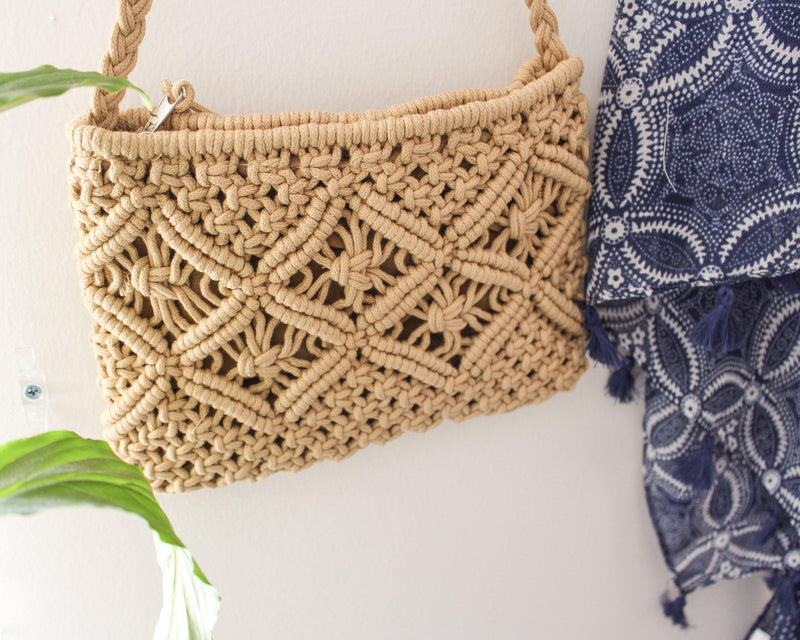 Magnolia Beige Cotton Macrame Purse - Vintage Style Purse - Macrame Bag - Hand Knotted Bag - Small Crossbody Purse