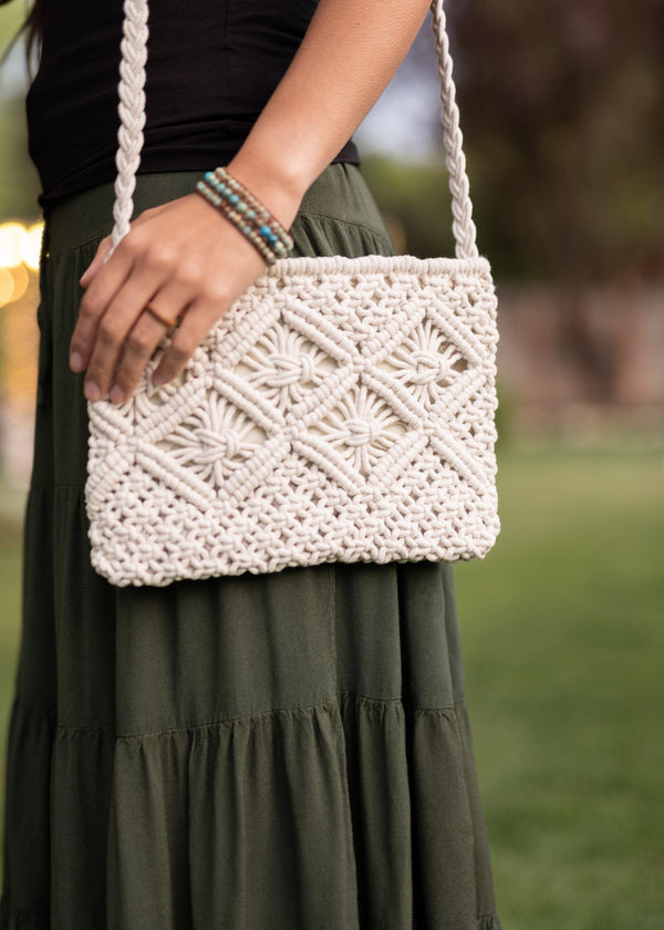 Stella White Cotton Macrame Purse - Macrame Bag - Hand Knotted Bag - Hippie Purse - Small Crossbody Purse