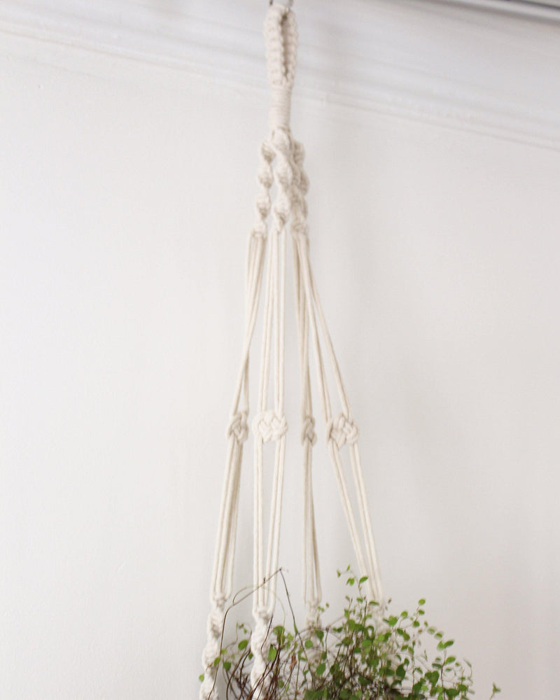 Calathea White Macrame Plant Hanger - Air Plant Holder - Plant Hanger Indoor - Macrame Plant Holder - Pure Chakra