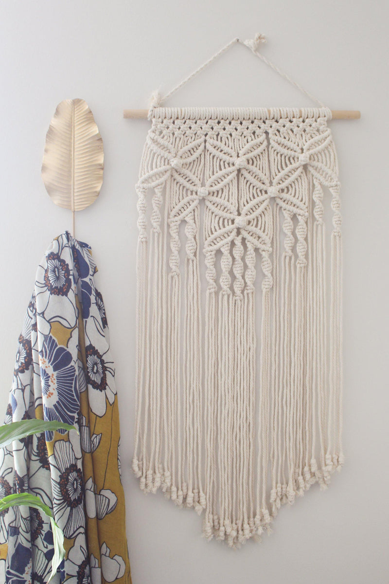 Wishful Stars Floral Cotton Large & Long Macrame Wall Hanging Hippie Wall Tapestry