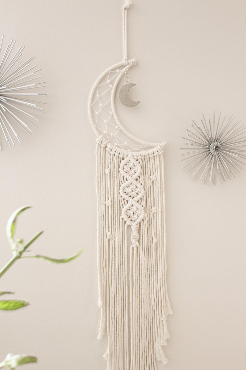 Luna Crescent Moon Long Cotton Macrame Wall Hanging Moon Tapestry