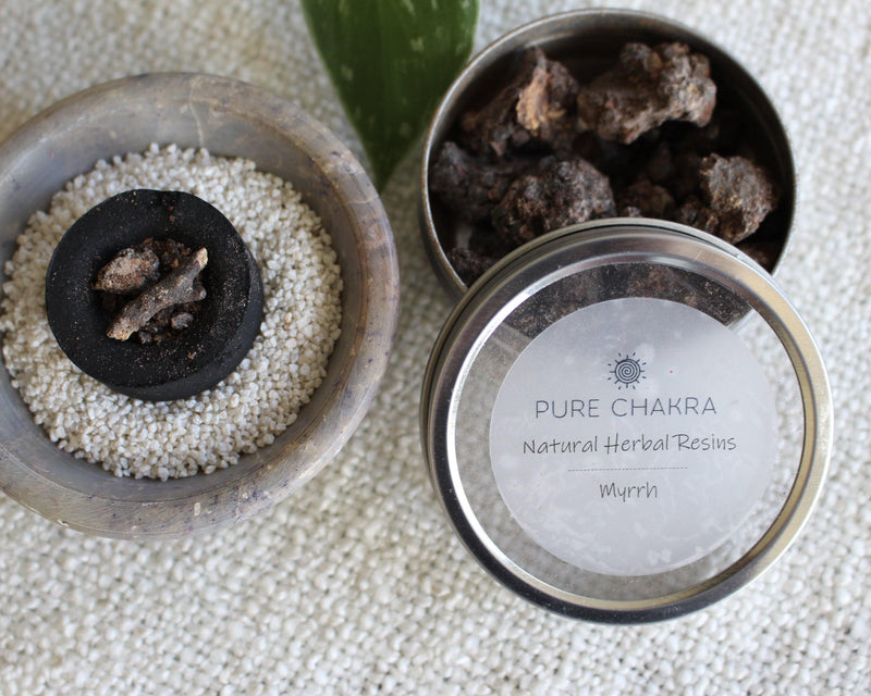 Pure Myrrh Natural Herbal Resins - Incense Resin - Charcoal Resin Burner - Pure Chakra Resins
