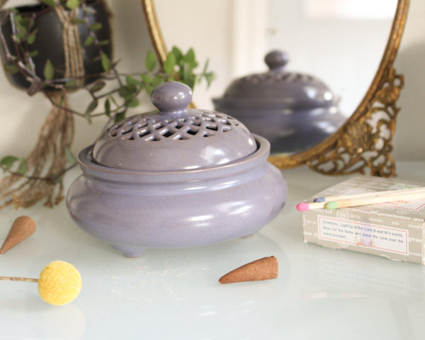 Hare Krishna Faded Purple Ceramic Incense Bowl With Lid - Cone Incense Burner - Ash Catcher - Rope Incense Burner - Stick Incense Holder