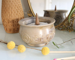 Ohm Stone Ceramic Incense Bowl - Smudge Bowl - Incense Burner - Stick Incense Burner - Resin Burner - Cone Incense Burner