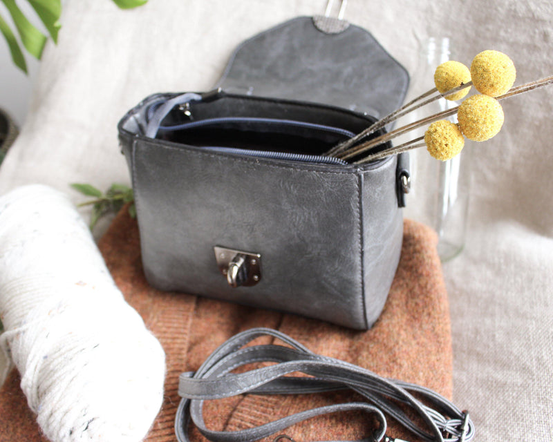 Blessed in a Purse - Gray Small Crossbody Purse - Hippie Bag - Cell Phone Purse - Faux Small Leather Purse