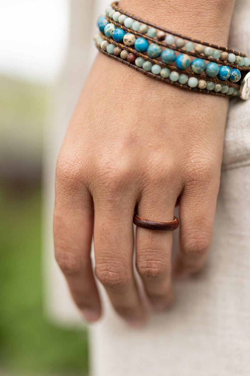 Birk Double Layered Olive Wood & Rosewood Womens Wood Ring - Wood Resin Ring - Wood Band - Fidget Ring