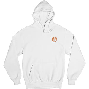 Mo Bamba Signature White Hoodie - Orange Print Front