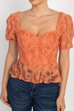 Load image into Gallery viewer, Sweetheart Lace Flounce Top