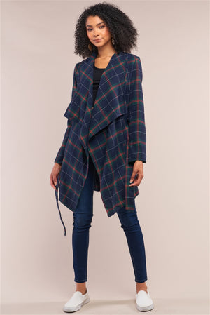 Open image in slideshow, NY State Of Mind Checkered Wrap Coat