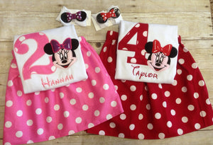 Minnie Mouse Birthday Outfit with Matching Hair clip