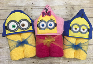Yellow 2-eyed Minion Follower Inspired Hooded Towel