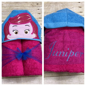 Pink Hair Fish Girl Hooded Towel