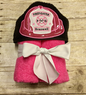Firefighter Baby Girl Hooded Towel