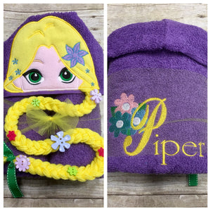 Personalized Rapunzel Inspired Hooded Towel
