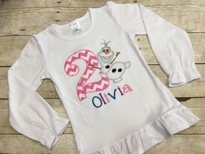 Girls Snowman Shirt