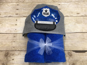 Police Officer Hooded Towel