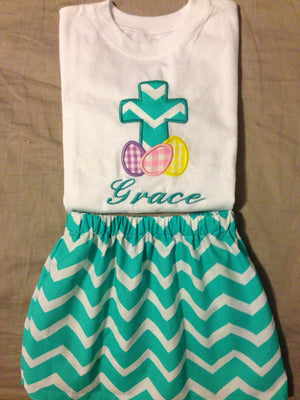 Girls Easter Cross with Eggs Outfit