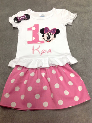 Pink Minnie Mouse Birthday Outfit with Matching Hair clip