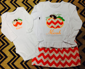 Personalized Girls Pumpkin Chevron Skirt Set Outfit