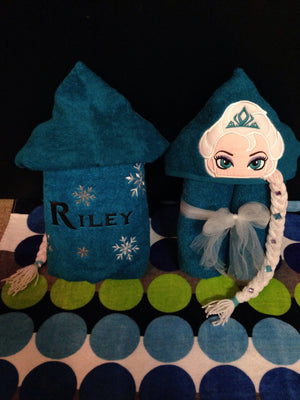 Personalized Non 3D Elsa & Anna Inspired Hooded Towel