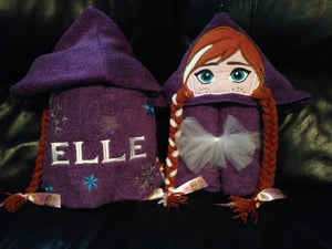 Personalized Elsa & Anna Inspired Hooded Towel