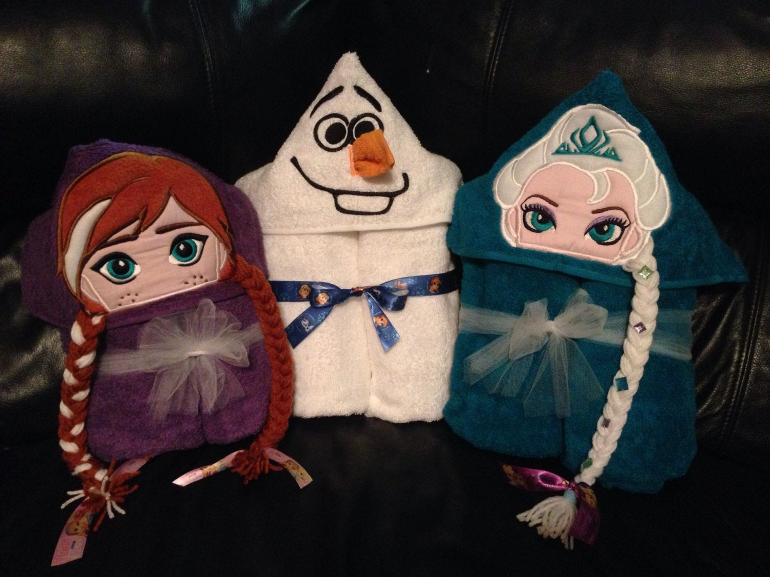 Personalized Olaf, Elsa , & Anna Inspired Hooded Towel