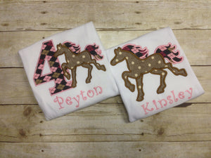 Personalized Girls Horse Shirt
