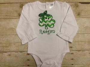 Personalized Boys or Girls St Patrick's Day Shamrock Bodysuit or Shirt