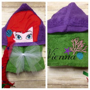 Personalized Ariel Inspired Hooded Towel