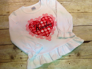 Personalized Girls Valentine Heart Shirt