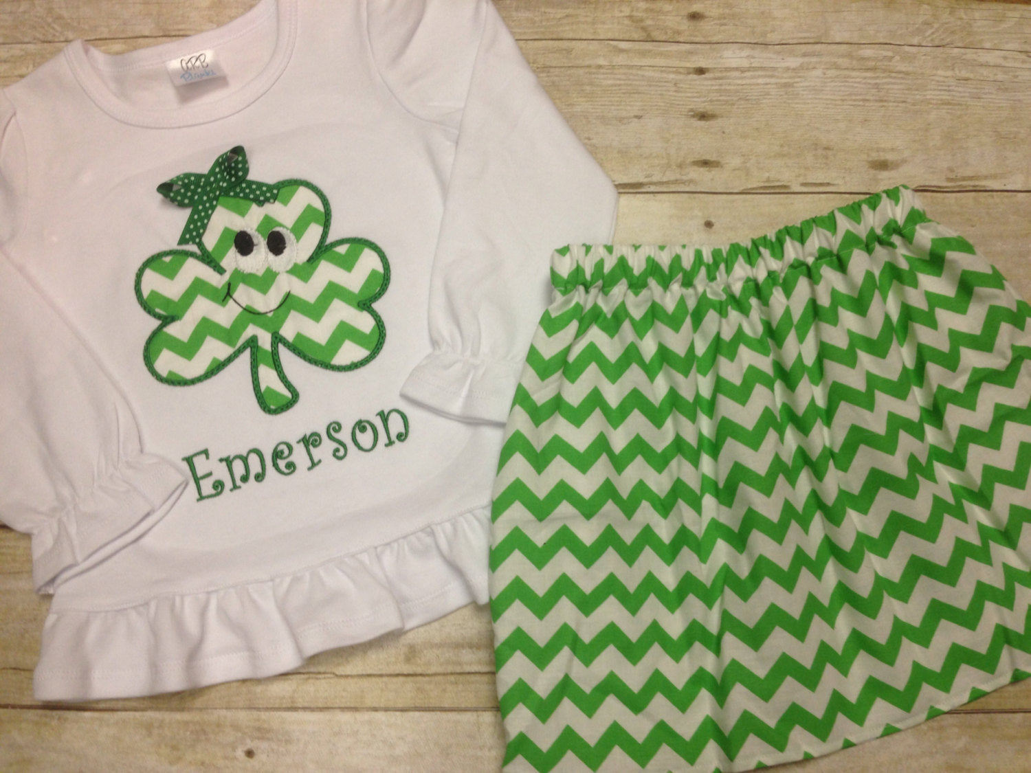 Personalized Girls Green St Patricks Day Outfit