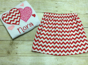 Personalized Girls Valentine's Day Red Heart Skirt Set Outfit