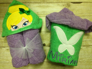 Personalized Tinkerbell & Jake Inspired Hooded Towel Set