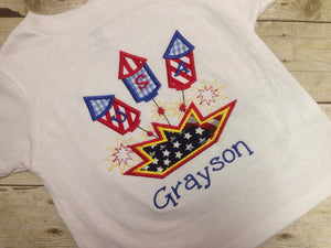 Boys Personalized July 4th Fireworks Shirt