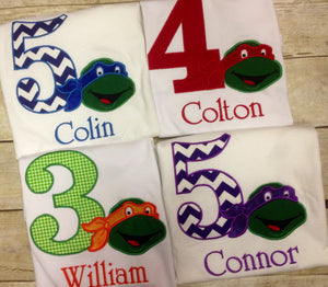 Teenage Mutant Ninja Turtle Custom Personalized Birthday Shirts