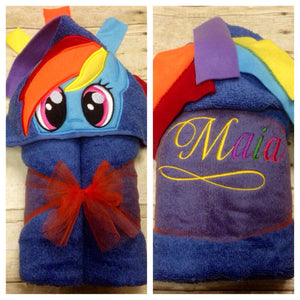 Rainbow Pony Hooded Towel