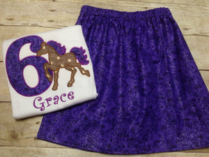 Girls Purple Horse Shirt