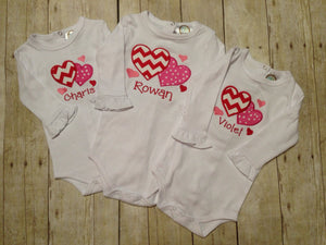 Girls Personalized Valentines Day Heart Shirt