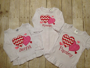 Personalized Girls Valentine's Day Heart Shirt