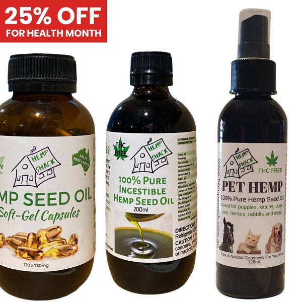 25% off hemp seed and hemp seed oil products from Hemp Shack for Health Month