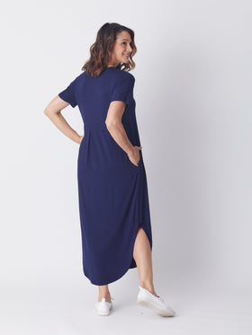 Box Pleat Maxi Dress - Navy