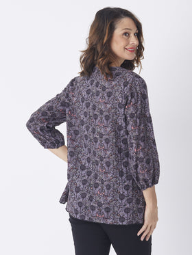 Peasant Tie Neck Top Slate Print