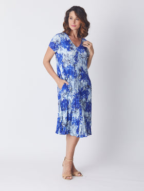 Stella Print Dress - Blue