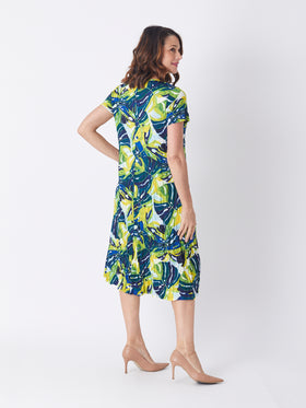 Stella Dress - Navy/Citrine