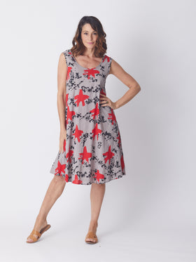Swing Dress - Silver/Red
