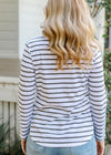 White / Coffee 100% Cotton Stripe Tee Shirt