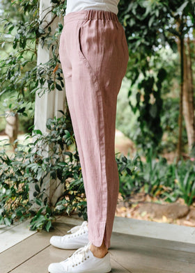 Dusty Pink 100% Linen Classic Pant