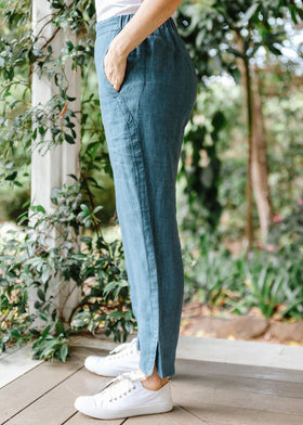Teal 100% Linen Classic Pant