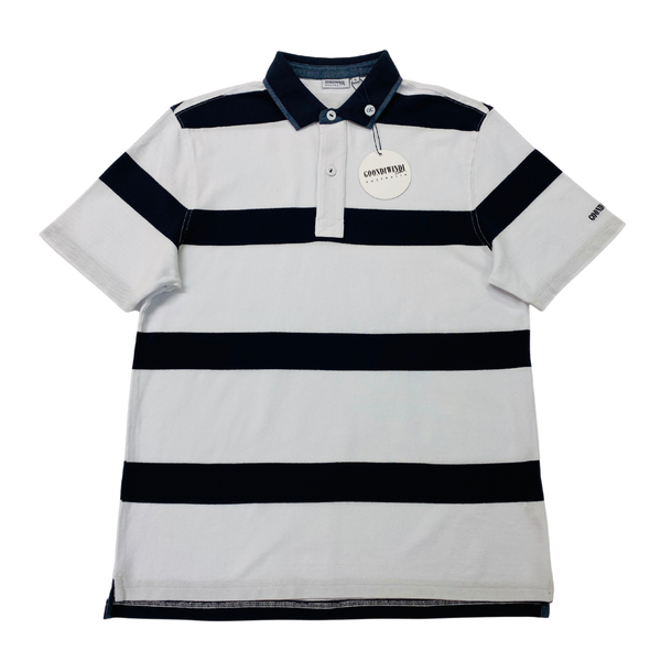 Navy / White 100% Cotton Mens Polo